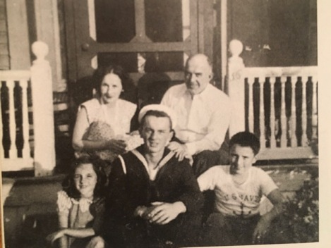Frank O'Hara, on leave from the Navy with his parents and brother and sister, 1944